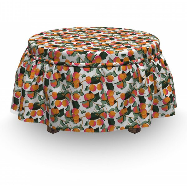 Citrus Mandarin With Leaves Ottoman Slipcover (Set Of 2) By East Urban Home
