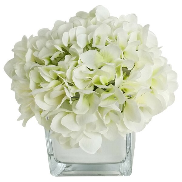 Artificial Silk Hydrangea Floral Arrangements in Decorative Vase by RG Style