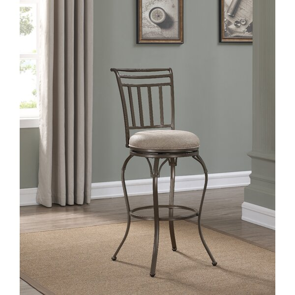 Jannie Swivel Round Bar Stool by Fleur De Lis Living
