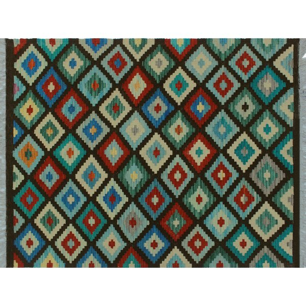 Rucker Kilim Handwoven Flatweave Wool Blue Area Rug by World Menagerie