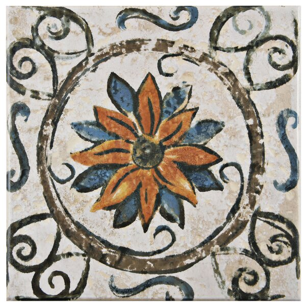 Romana 7.75 x 7.75 Ceramic Field Tile in Brown by