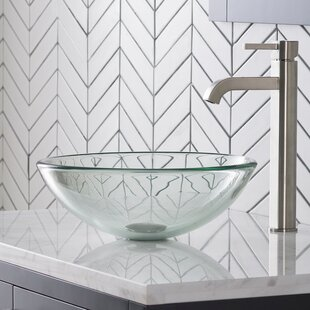 Affordable Frosted Glass Circular Vessel Bathroom Sink with Faucet By Kraus