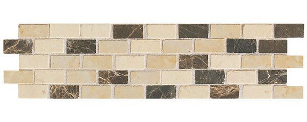 Accent Statements 3 x 12 Brick-Joint Mosaic Decorative Border in Emperador/Crema Marfil/Gold by Mohawk Flooring