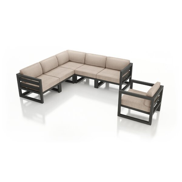 Remi 6 Piece Sectional Seating Group with Sunbrella Cushions by 17 Stories