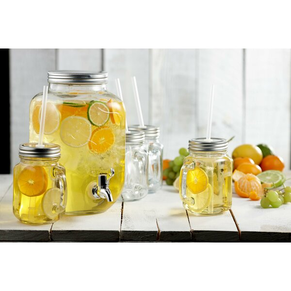 Wimbledon 5 Piece Glass Mason Jar Set by Gracie Oaks