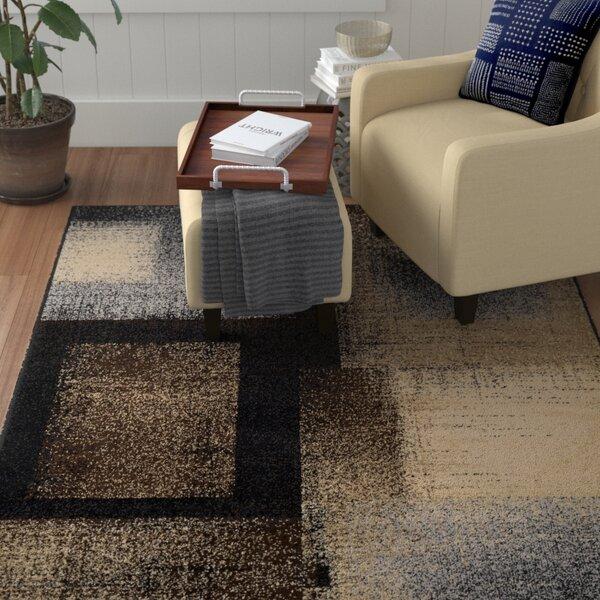 Helfrich Black/Dark Brown Area Rug by Winston Porter