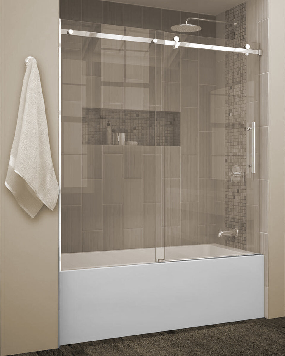 Quartz 60 X 66 Single Sliding Frameless Tub Door