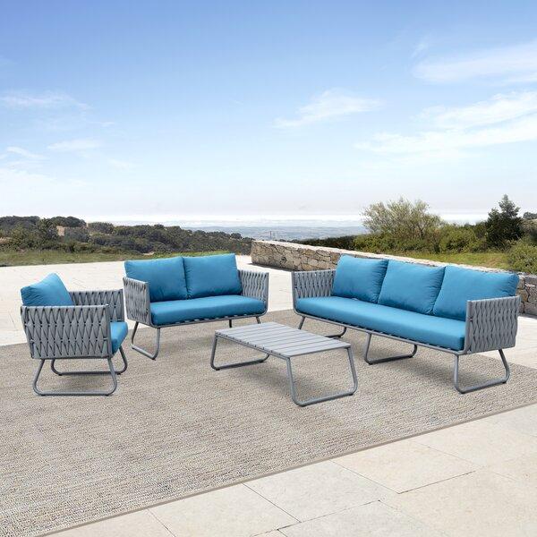Barnsley 4 Piece Sofa Seating Group with Cushions Brayden Studio W001436463