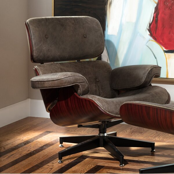 Clint Swivel Vintage Leather Executive Chair by Corrigan Studio