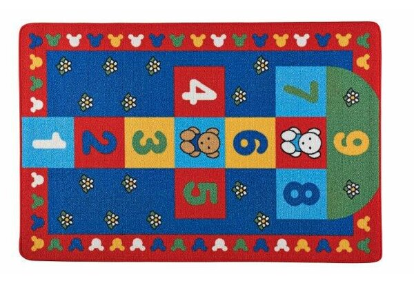 Fritz Hopscotch Blue/Red Area Rug by Zoomie Kids