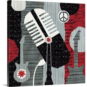'Rock 'n Roll Mic' by Michael Mullan Painting Print on Wrapped Canvas by Great Big Canvas