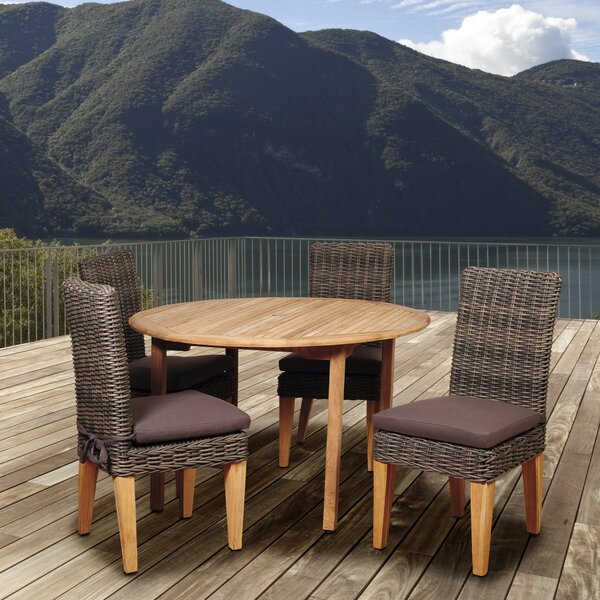 Truex International Home Outdoor 5 Piece Teak Dining Set with Cushions by Highland Dunes