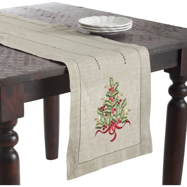 Christmas Tree Design Embroidered Runner by The Holiday Aisle
