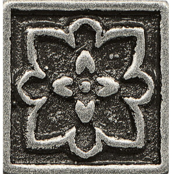 Ambiance Insert Romanesque 1 x 1 Resin Tile in Pewter by Bedrosians