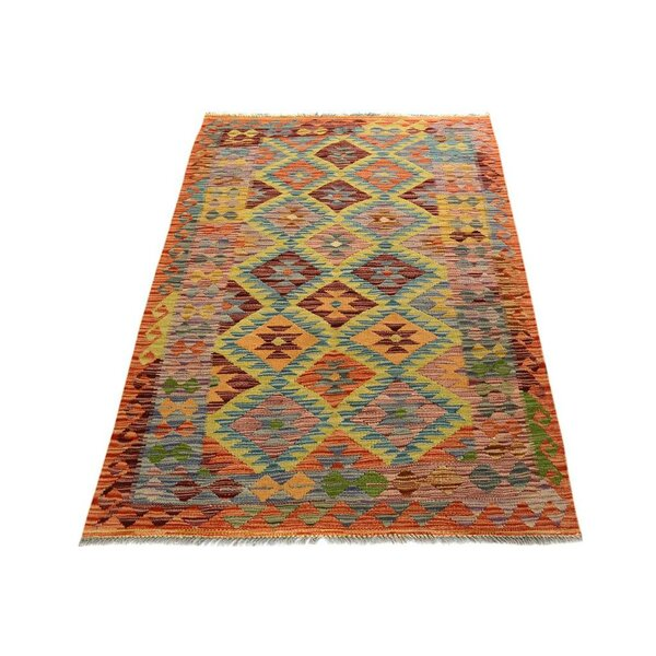 One-of-a-Kind Aalborg Kilim Hand-Woven Rust/Blue Area Rug by Isabelline