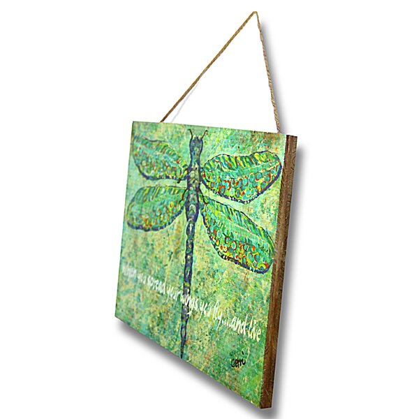 Dragonfly Wood Sign by Gerri Hyman Painting Print Plaque by My Island