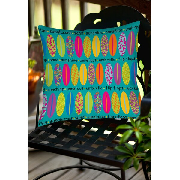 Surfs Up 1 Indoor/Outdoor Throw Pillow by Manual Woodworkers & Weavers