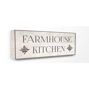 'Farmhouse Kitchen Typography' Textual Art on Canvas by Gracie Oaks
