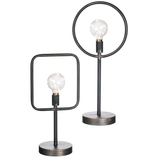 Zenobia Circle & Square LED Light Lanterns 2 Piece Table Lamp Set by Wrought Studio