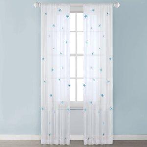 Antoinette Nature/Floral Sheer Rod Pocket Single Curtain Panel (Set of 2)