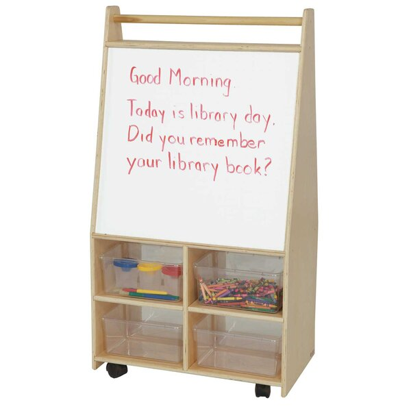 Folding 4 Compartment Teaching Cart with Trays by Wood Designs