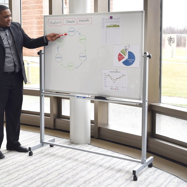 Magnetic Reversible Whiteboard 3 H X 4 W By Luxor.