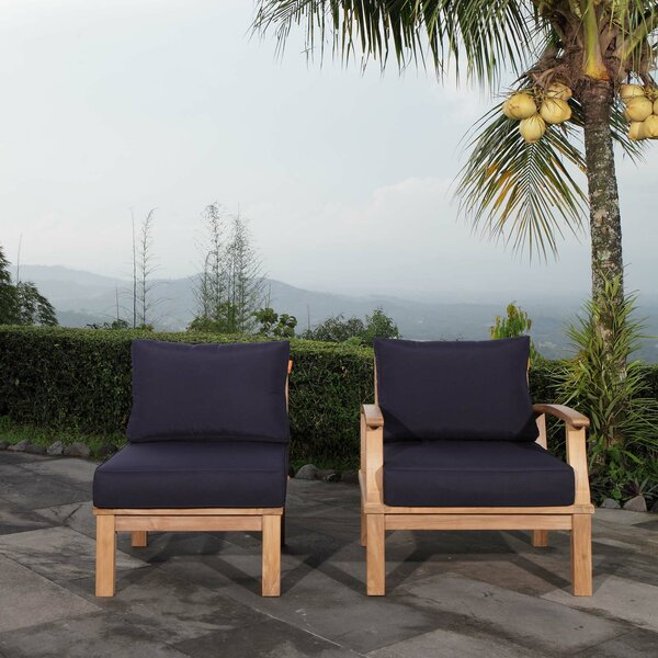 Elaina Outdoor Teak 2 Piece Patio Chair Set with Cushions by Rosecliff Heights