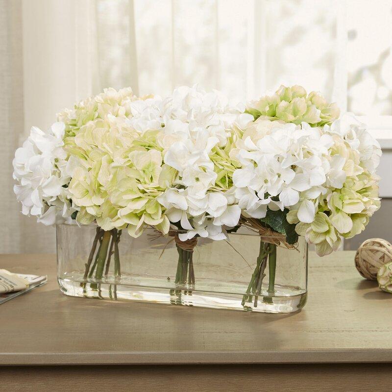 Birch Lane Hydrangea Centerpiece In Glass Vase Reviews Birch Lane