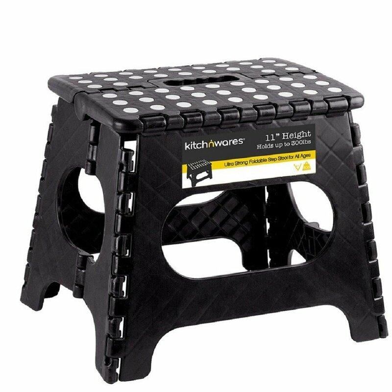 BLACK Sturdy E-Z Foldz Step Stool Easy Folding Stool
