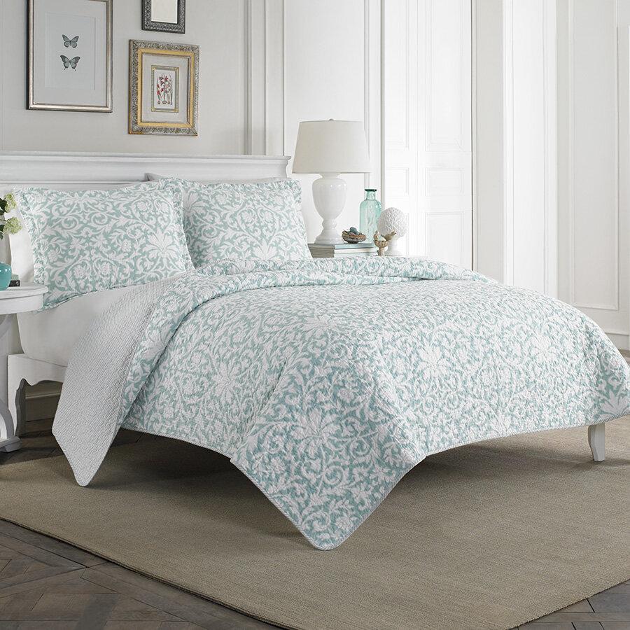 Laura Ashley Mia 100 Cotton Reversible Quilt Set By Home Reviews Wayfair