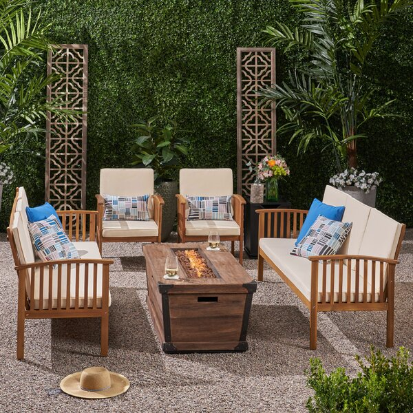 Olympia Outdoor 6 Piece Sofa Seating Group With Cushions By Breakwater Bay
