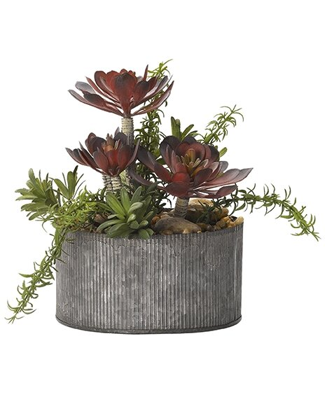 Mixed Floral Arrangement in Round Tin Planter by Williston Forge