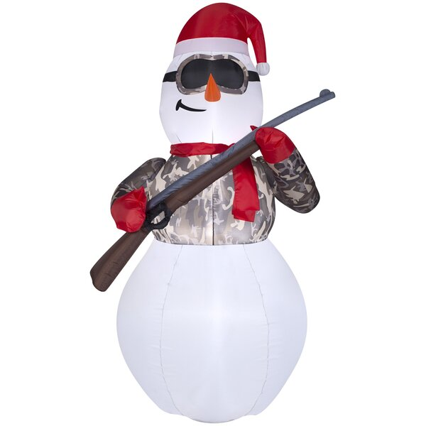 Airblown Hunting Snowman in Camo with Rifle Medium