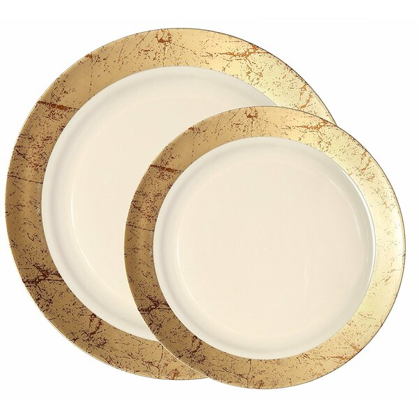 Marble Premium Heavyweight Plastic Disposable Dinner Plate by Party Joy