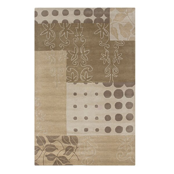 Vadgaon Hand-Tufted Beige Area Rug by Meridian Rugmakers
