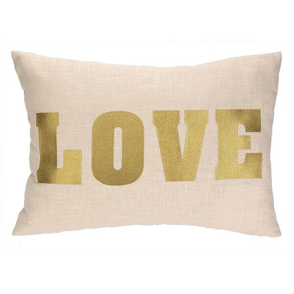 Love Embroidered Decorative Linen Lumbar Pillow by D.L. Rhein