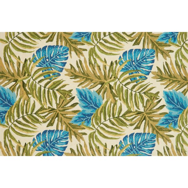Monadnock Hand-Hooked Ivory/Green Area Rug by Bay Isle Home