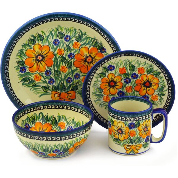 Flower Polish Pottery 4 Piece Place Setting, Service for 1 by Polmedia