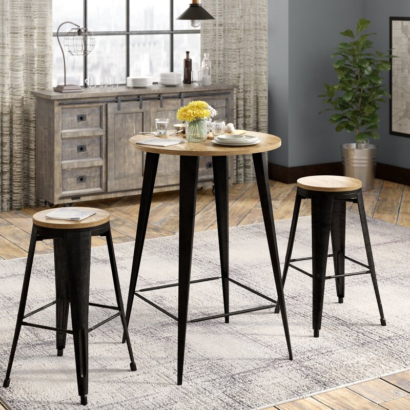Nickolas 3 Piece Pub Table Set & Williston Forge Nickolas 3 Piece Pub Table Set u0026 Reviews | Wayfair