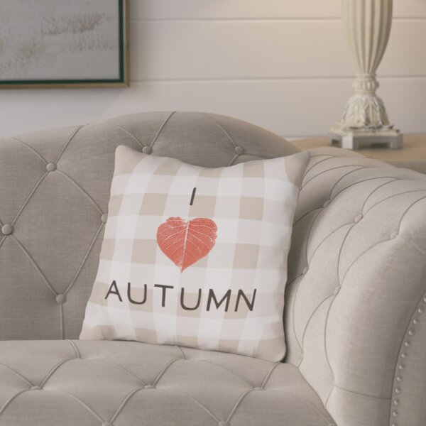 I Heart Autumn Plaid Throw Pillow by August Grove