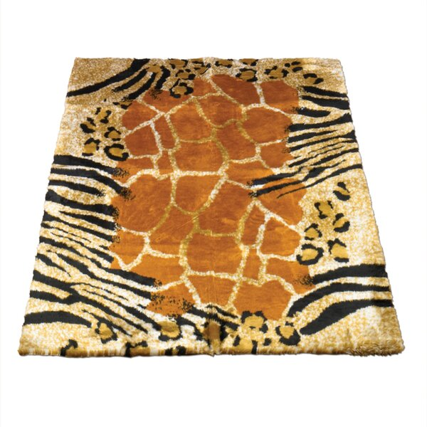 Animal Black/Brown Safari Print Area Rug by Walk On Me