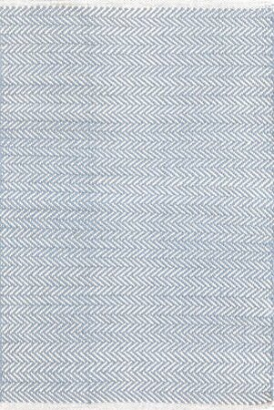 Herringbone H Woven Swedish Blue Area Rug by Dash and Albert Rugs