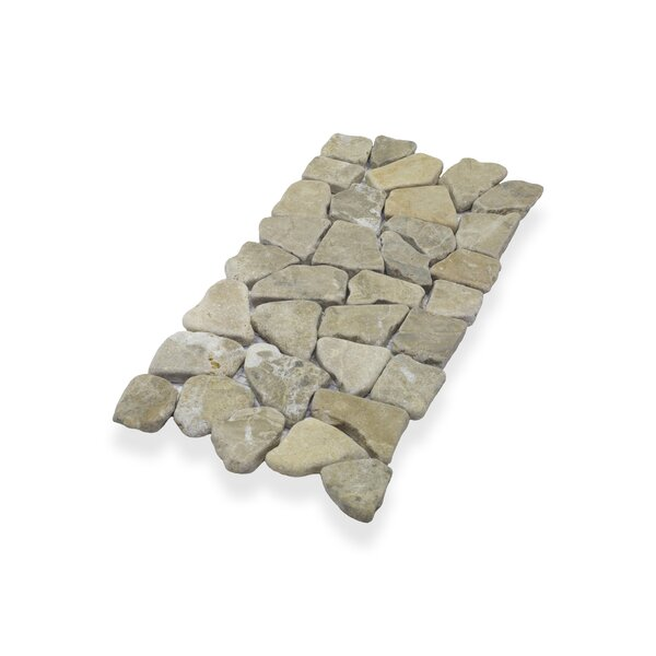 "Border Interlock 6 x 11 3/4"" Natural Stone Pebbles/Rocks Tile in Tan by Pebble Tile"