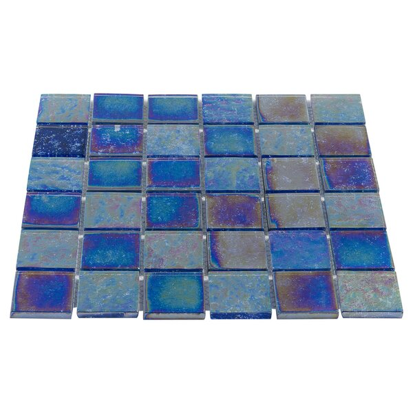 Marina Iridescent 2 x 2 Glass Mosaic Tile in Indigo by Splashback Tile
