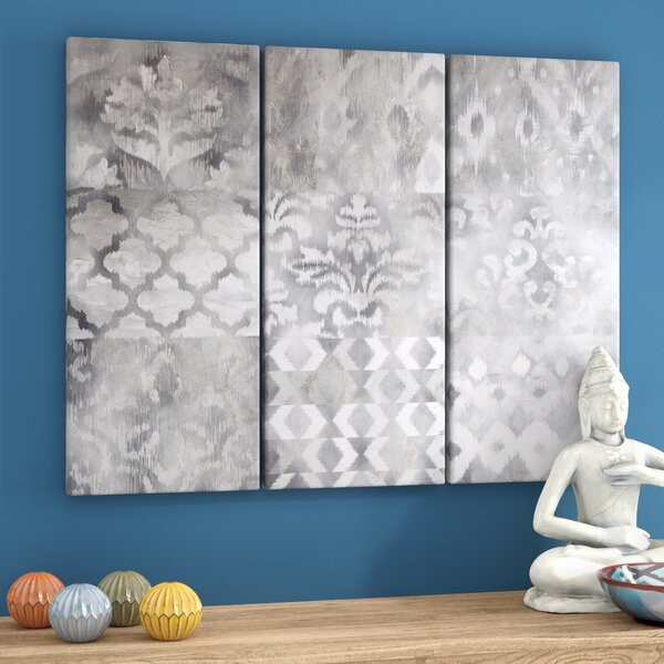 Ikat 3 Piece Graphic Art Print Set on Wood by Bungalow Rose