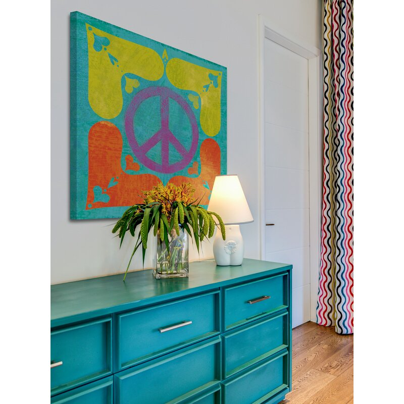 'A Peace Sign Quilt I' by Alan Hopfensperger Painting Print on Canvas