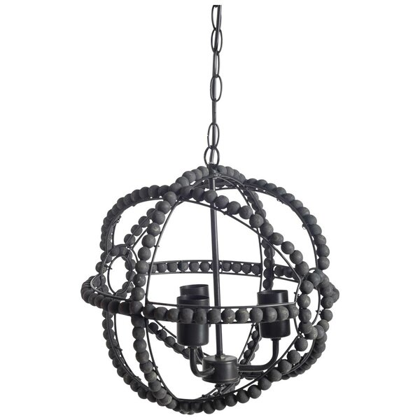 Rawson 3-Light Candle Style Globe Chandelier with Beaded Accents by Bungalow Rose Bungalow Rose