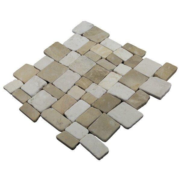 Blocks 12 x 12 Natural Stone Pebbles Tile in Tan/White by Pebble Tile