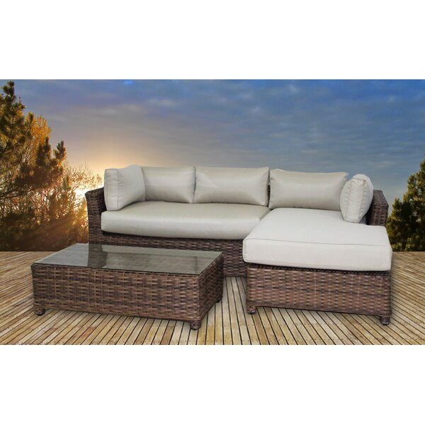 Glover 3 Piece Sunbrella Sectional Set with Cushions by Bayou Breeze Bayou Breeze
