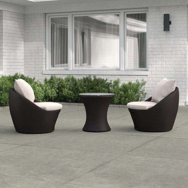 Chappell 3 Piece Rattan Seating Group with Cushions by Zipcode Design
